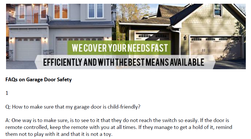 FAQs on Garage Door Safety - Garage Door Repair West University Place